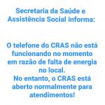 Telefone do CRAS está indisponível, mas atendimentos seguem normalmente