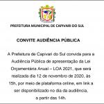 Audiência Pública LOA 2021 será dia 12 de novembro